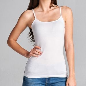 White Fitted Spaghetti Strap Tank Top
